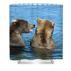 Grizzly Bear Talk Shower Curtain