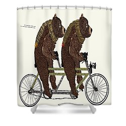 Shower Curtain featuring the painting Grizzly Bears Lets Tandem by Bri B