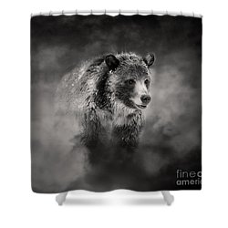 Shower Curtain featuring the photograph Grizzly Black And White In Clouds by Clare VanderVeen
