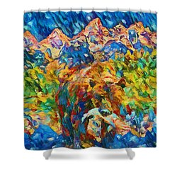Shower Curtain featuring the painting Grizzly Catch In The Tetons by Dan Sproul