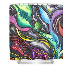 Shower Curtain featuring the painting Groovy Series Titled My Hippy Days  by Chrisann Ellis