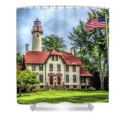 Shower Curtain featuring the painting Grosse Point Lighthouse by Christopher Arndt