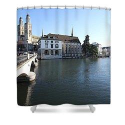 Grossmunster, Wasserkirche And Munsterbrucke - Zurich Shower Curtain