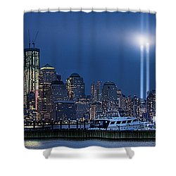 Ground Zero Tribute Lights And The Freedom Tower Shower Curtain