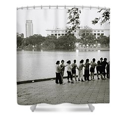 Group Massage Shower Curtain