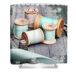 Group Of Vintage Sewing Notions Shower Curtain
