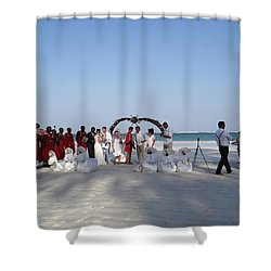 Group Wedding Photo Africa Beach Shower Curtain