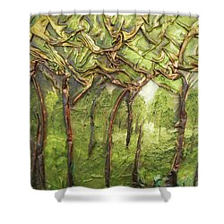 Shower Curtain featuring the mixed media Grove Of Trees by Angela Stout