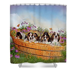 Growing Puppies Shower Curtain by Carol Cavalaris