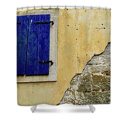 Groznjan Istrian Hill Town Stonework And Blue Shutters  - Istria, Croatia Shower Curtain