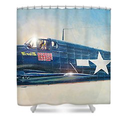 Grumman F6f-5 Hellcat Shower Curtain by Douglas Castleman