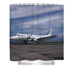 Grumman G-159 Gulfstream Patiently Waits, N719g Shower Curtain
