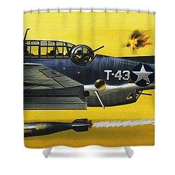 Grummen Tbf1 Avenger Bomber Shower Curtain