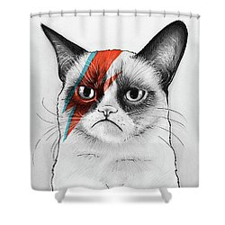 Grumpy Cat As David Bowie Shower Curtain