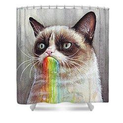 Grumpy Cat Tastes The Rainbow Shower Curtain
