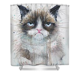 Grumpy Cat Watercolor Painting  Shower Curtain