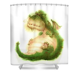 Grumpy Dragon Shower Curtain by Andy Catling