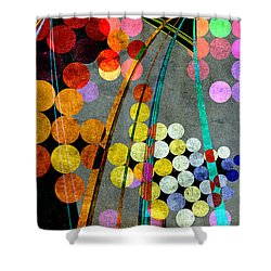 Shower Curtain featuring the digital art Grunge City Lights by Fran Riley