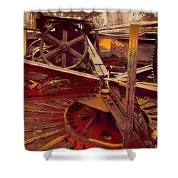 Shower Curtain featuring the photograph Grunge Gears by Robert Kernodle