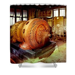 Grunge Motor Generator Shower Curtain