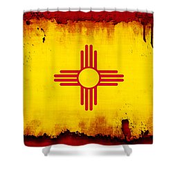 Grunge Style New Mexico Flag Shower Curtain by David G Paul