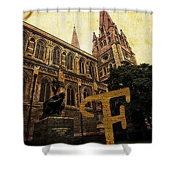 Grungy Melbourne Australia Alphabet Series Letter F Captain Matt Shower Curtain