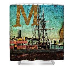 Grungy Melbourne Australia Alphabet Series Letter M Marina Dockl Shower Curtain