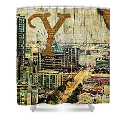 Grungy Melbourne Australia Alphabet Series Letter Y Yarra River Shower Curtain