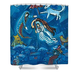 Guadalupe Visits Chagall Shower Curtain