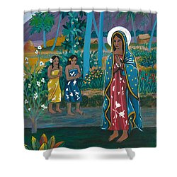 Guadalupe Visits Gauguin Shower Curtain