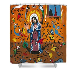 Guadalupe Visits Miro Shower Curtain