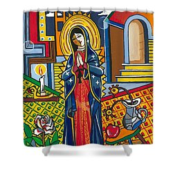 Guadalupe Visits Picasso Shower Curtain