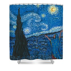 Guadalupe Visits Van Gogh Shower Curtain