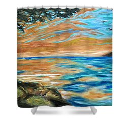 Shower Curtain featuring the painting Guana Sunset by Linda Olsen