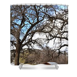 Shower Curtain featuring the photograph Guard Shack At Fort Tejon Lebec California by Floyd Snyder