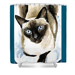 Guardian Angel - Siamese Cat Portrait Shower Curtain