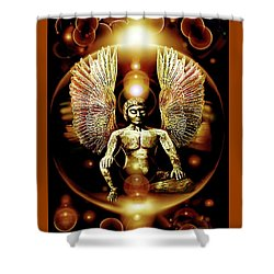 Guardian  Archangel Shower Curtain by Hartmut Jager