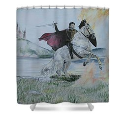 Guardian Of The Castle Shower Curtain by Melita Safran