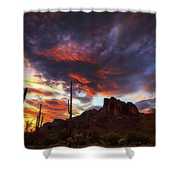 Shower Curtain featuring the photograph Guardians Of The Mountain by Rick Furmanek