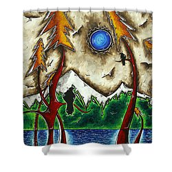 Guardians Of The Wild Original Madart Painting Shower Curtain by Megan Duncanson