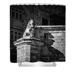 Guarding The Balconies In Valletta Shower Curtain by Stephan Grixti