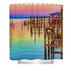 Guarding The Dock Shower Curtain by Roberta Byram