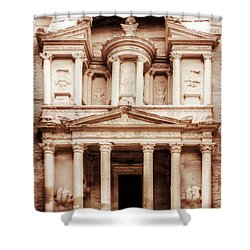Guarding The Petra Treasury Shower Curtain by Nicola Nobile