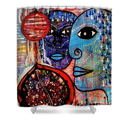 Shower Curtain featuring the painting Guarding The Pomegranate by Mimulux patricia no No