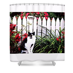 Guarding The Rose Garden Shower Curtain by Angela Davies