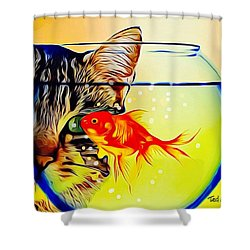 Shower Curtain featuring the painting Guess Who's Coming To Dinner? by Ted Azriel