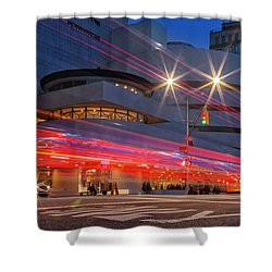 Shower Curtain featuring the photograph Guggenheim Museum Nyc Light Streaks by Susan Candelario