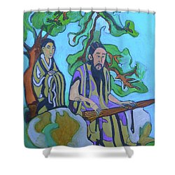 Shower Curtain featuring the painting Gugin-seven Strings by Denise Weaver Ross