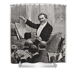Shower Curtain featuring the painting Guiseppe Verdi Conducts Aida by Celestial Images