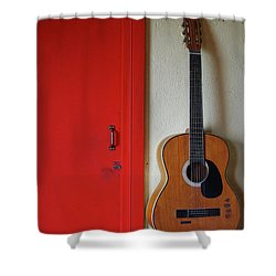 Guitar And Red Door Shower Curtain